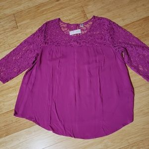 Bright fuschia lace top